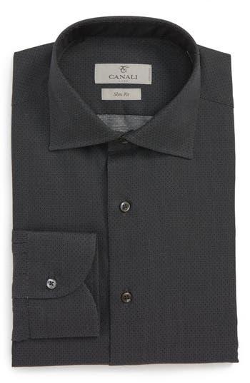 Big & Tall Canali Regular Fit Print Dress Shirt, Black