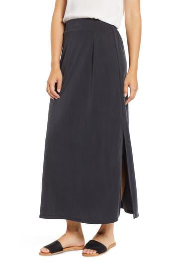 Everleigh Cupro Side Slit Maxi Skirt, Black