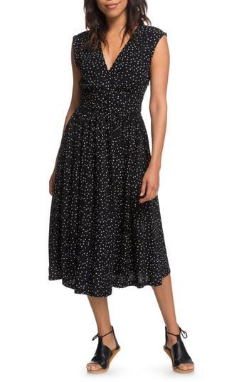 Roxy Retro Poetic Polka Dot Dress, Black