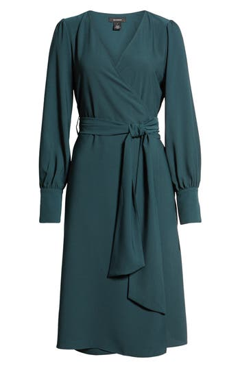 Vintage Christmas Dress | Party Dresses | Night Out Outfits Womens Halogen Wrap Dress Size XX-Large - Green $99.00 AT vintagedancer.com