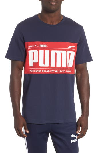 Puma Graphic Logoblock T-Shirt, Blue