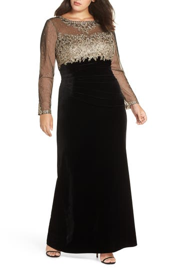 Edwardian Evening Gowns | Victorian Evening Dresses Plus Size Womens Xscape Metallic Embroidered Velvet Gown $298.00 AT vintagedancer.com