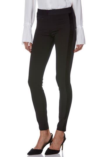 Tereza Velvet Side Stripe Slim Pants in Black