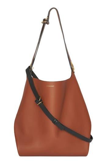 Burberry Grommet Medium Leather Hobo - Brown