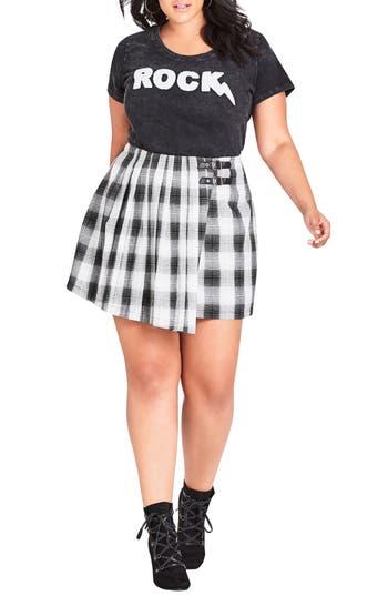 Plus Size City Chic London Check A-Line Skirt, Black