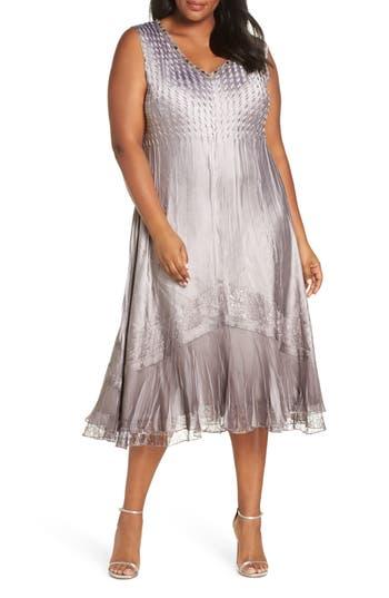 Plus Size Komarov Sleeveless Charmeuse Dress & Chiffon Jacket