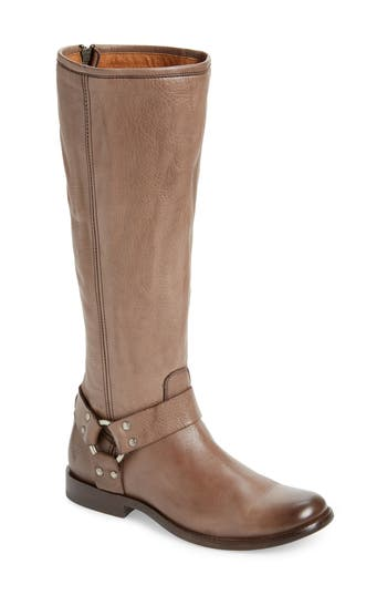 Phillip Harness Tall Boot, Grey Leather