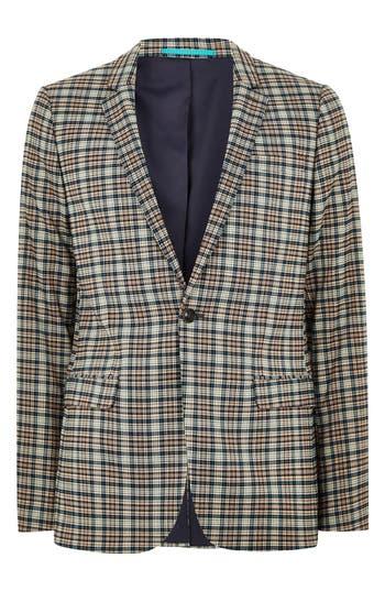 1960s Mens Suits | 70s Mens Disco Suits Mens Topman Ultra Skinny Fit Check Suit Jacket Size 46R - Black $240.00 AT vintagedancer.com