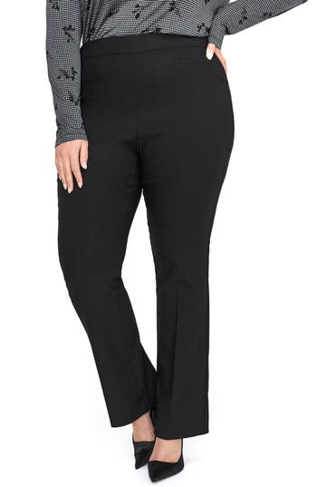 Plus Size Michel Studio Kick Flare Stretch Pants, Black