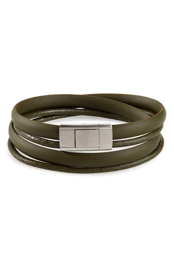 Ted Baker London Mera Leather & Rubber Wrap Bracelet