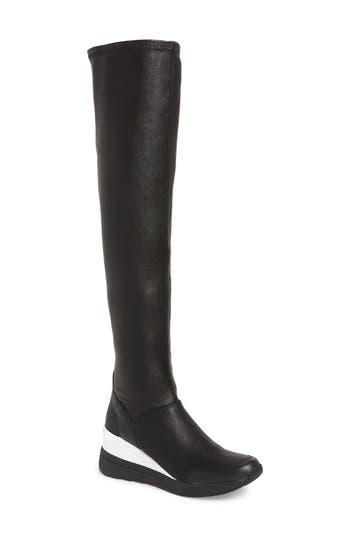 Michael Michael Kors Tipton Wedge Over The Knee Rain Boot, Black