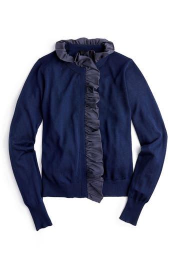 Plus Size J.crew Ruffle Merino Wool Cardigan, Size - Blue