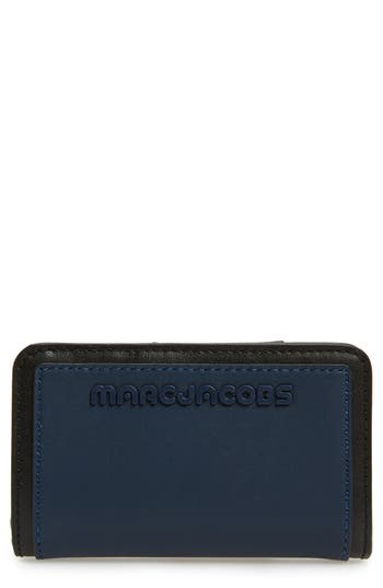 Sport Compact Leather Wallet - Blue, Blue Sea