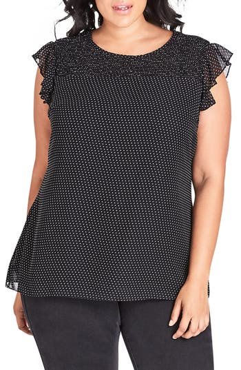 Vintage & Retro Shirts, Halter Tops, Blouses Plus Size Womens City Chic Spotty Smocked Top $65.00 AT vintagedancer.com