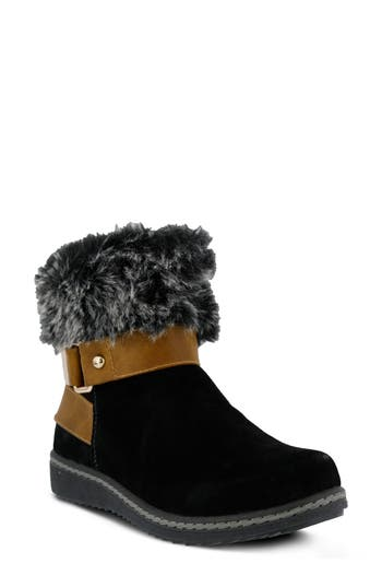 Spring Step Popsicle Water Resistant Faux Fur Bootie, Black