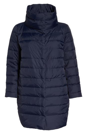 Plus Size Eileen Fisher Stand Collar Cocoon Down Coat, Blue