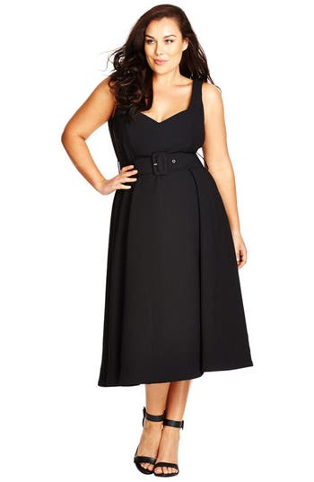 Plus Size Vintage Dresses, Plus Size Retro Dresses Plus Size Womens City Chic Belted Sweetheart Neck Tea Length Dress Size XX-Large - Black $99.00 AT vintagedancer.com
