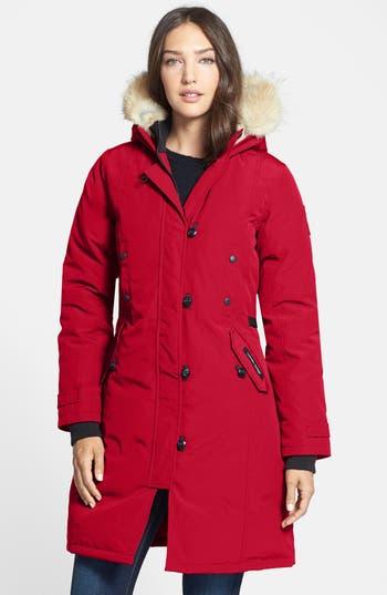Canada Goose Kensington Slim Fit Down Parka With Genuine Coyote Fur Trim, (2-4) - Red