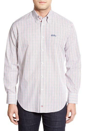Men's Thomas Dean 'Ole Miss Rebels' Regular Fit Long Sleeve Tattersall Sport Shirt