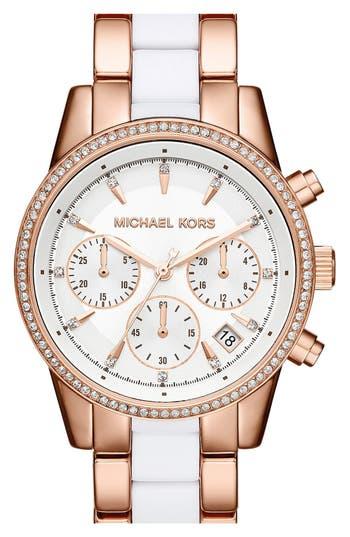 Women's Michael Kors 'Ritz' Chronograph Bracelet Watch, 37Mm