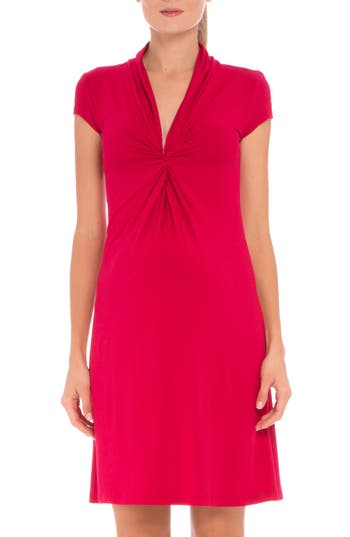 Women's Olian Maternity Wrap Dress, Size X-Small - Red
