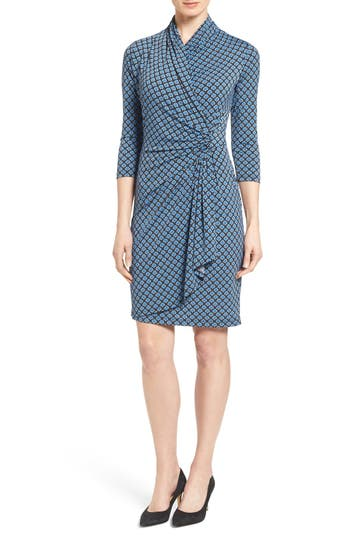 Women's Karen Kane Print Jersey Cascade Faux Wrap Dress, Size Medium - Blue