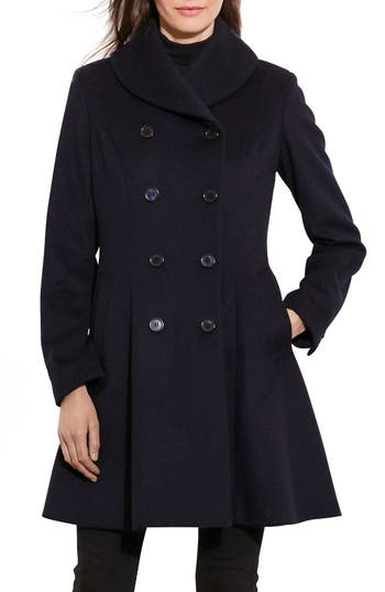 Women's Lauren Ralph Lauren Fit & Flare Military Coat, Size 2 - Blue
