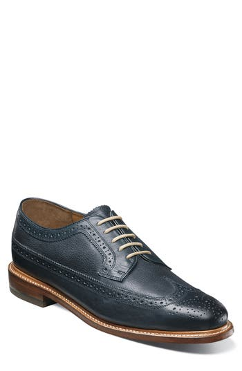 Mens Vintage Style Shoes| Retro Classic Shoes Mens Florsheim Heritage Wingtip Size 13 D - Blue $175.00 AT vintagedancer.com