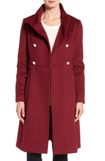 Petite Women's Eliza J Wool Blend Long Military Coat, Size 10P - Red