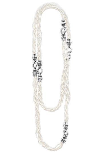 Women's Lagos 'Black & White Caviar' Agate Multistrand Necklace