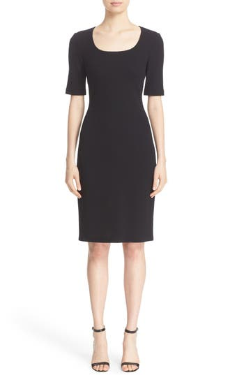 Women's St. John Collection Milano Piqué Knit Scoop Neck Dress