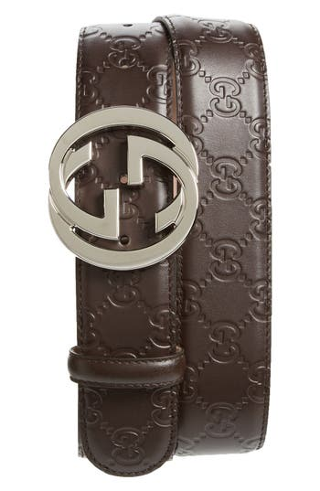 Men's Gucci Logo Embossed Leather Belt, Size 95 EU - Brown