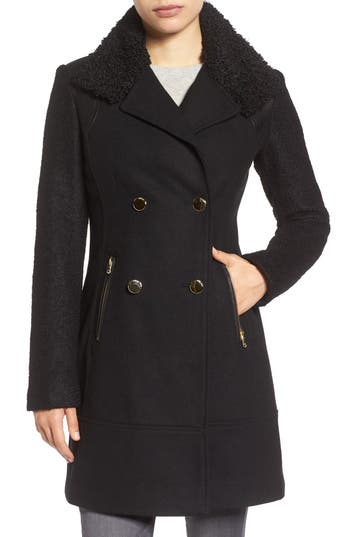 Women's Guess Boucle Sleeve Wool Blend Military Coat