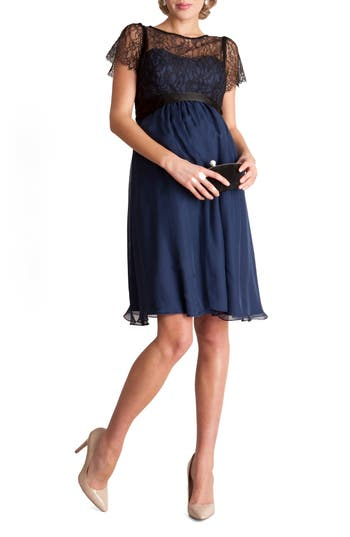 Vintage Style Maternity Clothes Womens Seraphine Genevieve Luxe Sleeveless Lace  Silk Maternity Dress Size 10 - Blue $289.00 AT vintagedancer.com