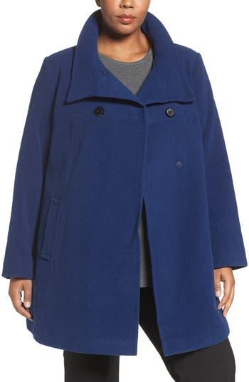 Plus Size Larry Levine Wool Blend A-Line Babydoll Coat, Blue