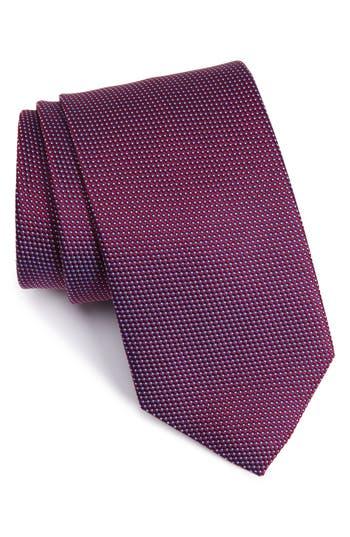 Men's Eton Microdot Silk Tie, Size Regular - Burgundy