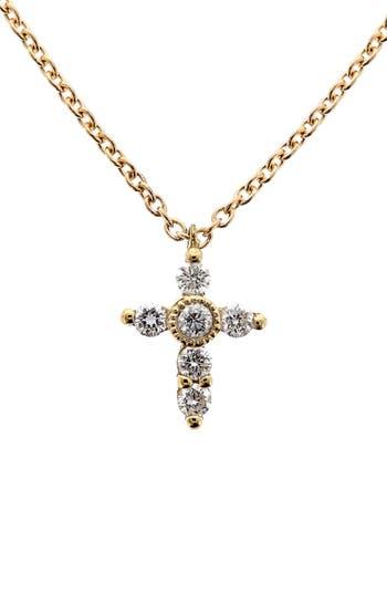 Women's Bony Levy Diamond Mini Cross Necklace (Nordstrom Exclusive)