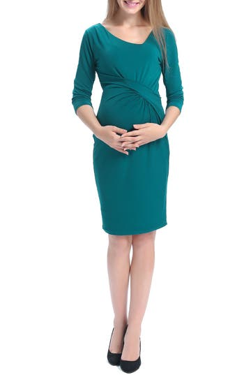 Vintage Style Maternity Clothes Maternity Dress Size Large - Bluegreen $88.00 AT vintagedancer.com