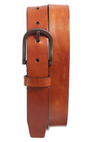 Bosca Heavyweight Leather Belt, Amber