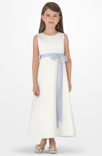 Girl's Us Angels Sleeveless Satin Dress, Size 7 - Grey
