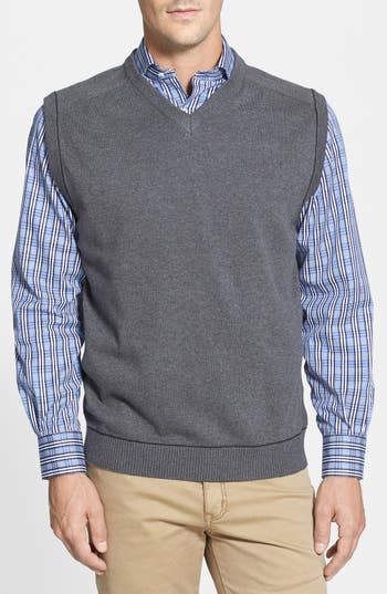 Big & Tall Cutter & Buck Broadview V-Neck Sweater Vest, Grey