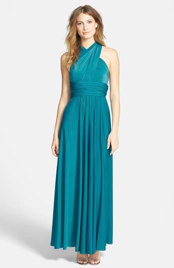 Plus Size Women's Dessy Collection Convertible Wrap Tie Surplice Jersey Gown, Size XX-Large - Blue