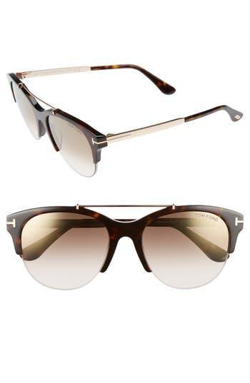 Tom Ford Adrenne 55Mm Sunglasses - Havana/ Rose Gold/ Brown