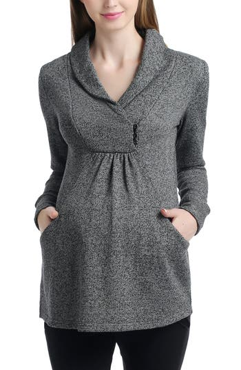 Kimi And Kai Sadie Shawl Collar Maternity Sweatshirt, Grey