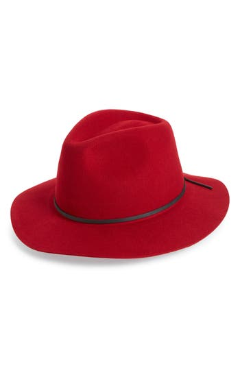 Brixton 'WESLEY' WOOL FEDORA - RED
