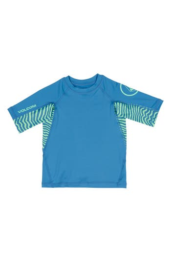 Toddler Boy's Volcom Vibes Short Sleeve Rashguard, Size 3T - Blue
