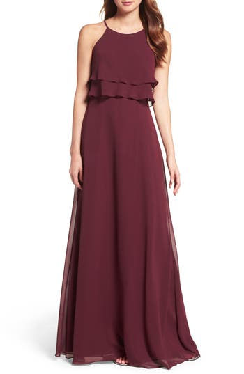 Women's Jenny Yoo Charlie Ruffle Bodice Gown, Size 6 - Red