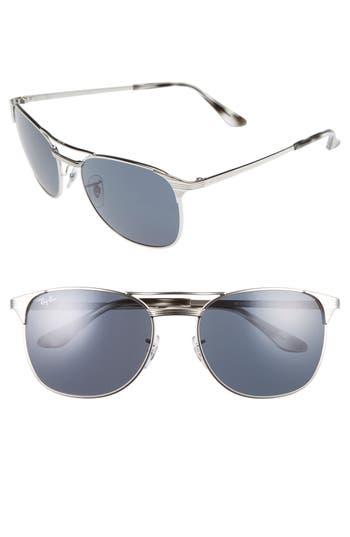 Men's Ray-Ban Signet 58Mm Square Sunglasses - Shiny Silver/grey/blue
