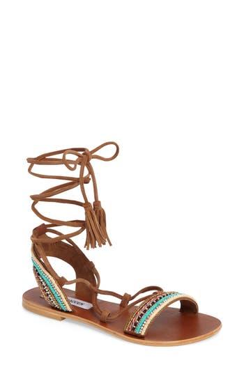 Women's Steve Madden Orva Embellished Ghillie Wrap Sandal, Size 6 M - Brown