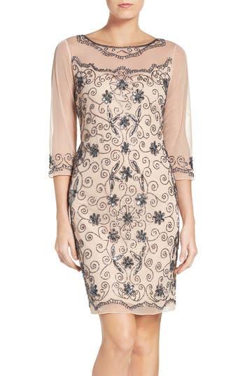 Vintage Inspired Wedding Dresses Womens Pisarro Nights Beaded Mesh Sheath Dress Size 16 - Pink $168.00 AT vintagedancer.com